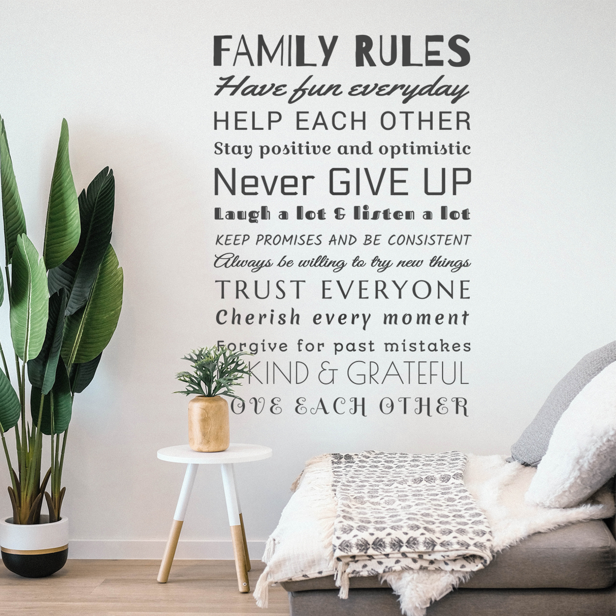 Decorative lettering wall sticker by CaptainText: Family rules