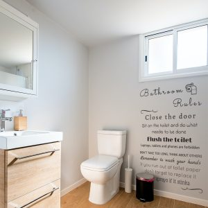 Decorative lettering wall sticker by CaptainText: Bathroom Rules