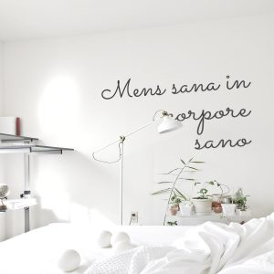 Decorative lettering wall sticker by CaptainText: Mens sans in corpore sano