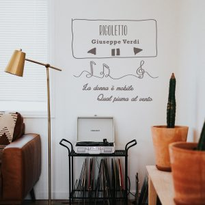 Decorative lettering wall sticker by CaptainText: music player