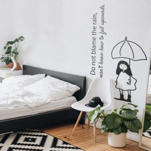 Decorative lettering wall sticker by CaptainText: don't blame the rain