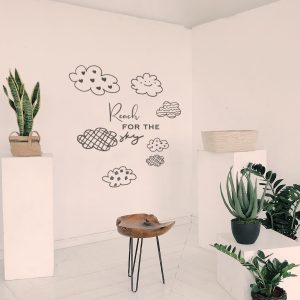 Decorative lettering wall sticker by CaptainText: reach for the sky