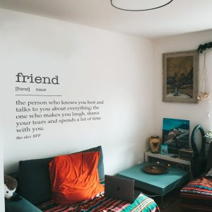 Decorative lettering wall sticker by CaptainText: friend defined