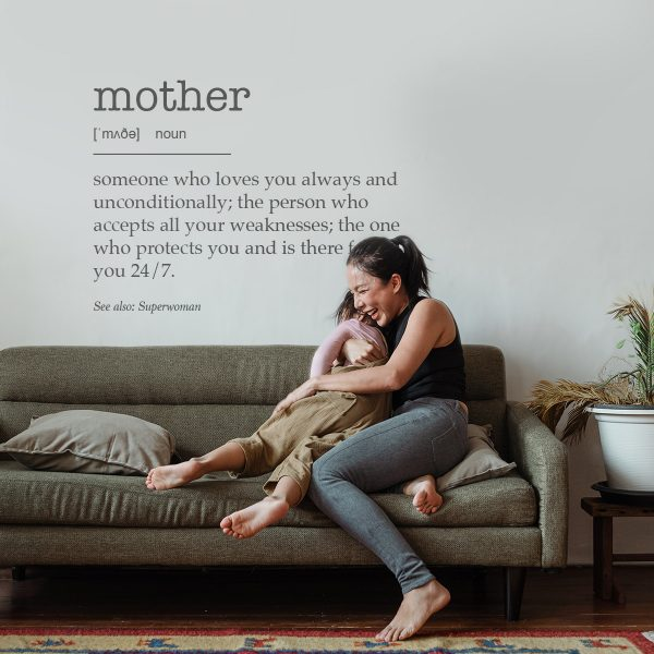Decorative lettering wall sticker by CaptainText: mother defined