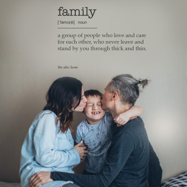 Decorative lettering wall sticker by CaptainText: family defined