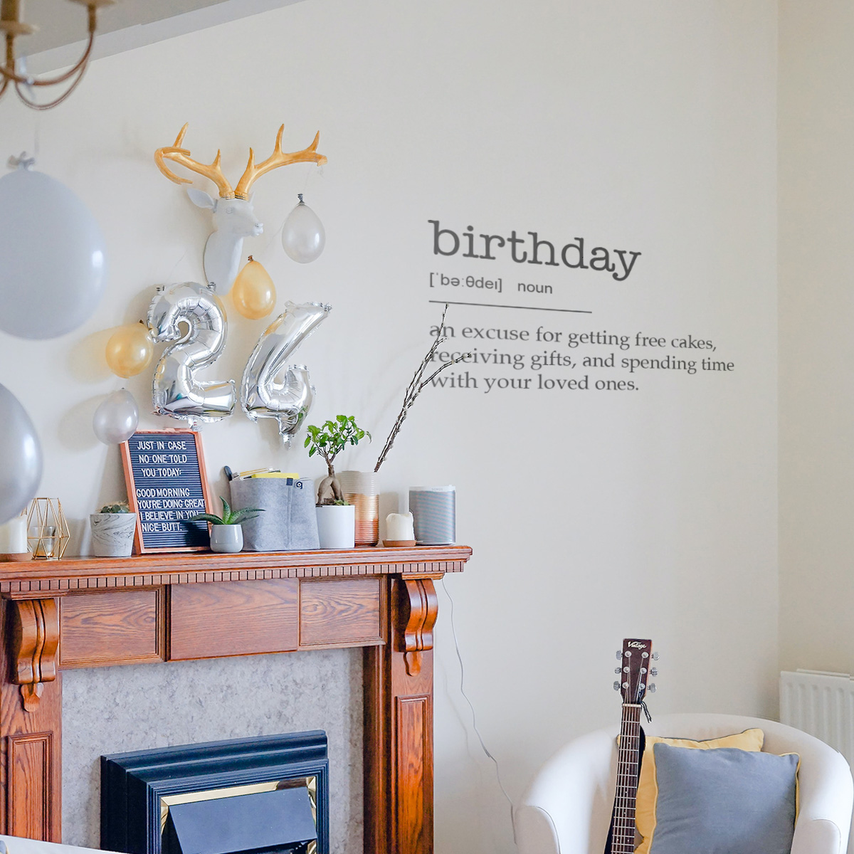 Decorative lettering wall sticker by CaptainText: birthday defined