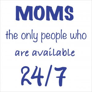 Decorative lettering wall sticker by CaptainText: moms are always available