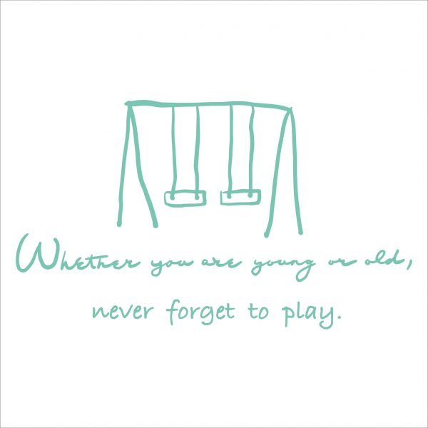 Decorative lettering wall sticker by CaptainText: never forget to play