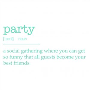 Decorative lettering wall sticker by CaptainText for a party