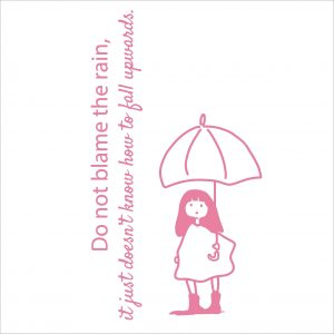 Decorative lettering wall sticker by CaptainText for not blaming the rain