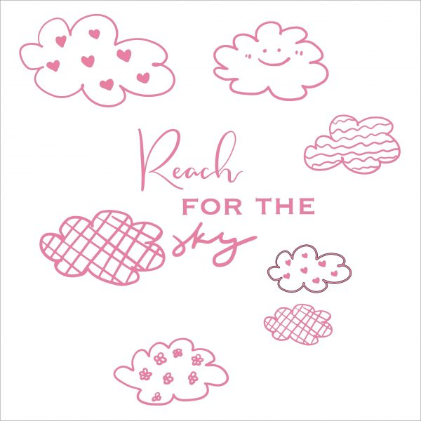 Decorative lettering wall sticker by CaptainText for reaching the sky