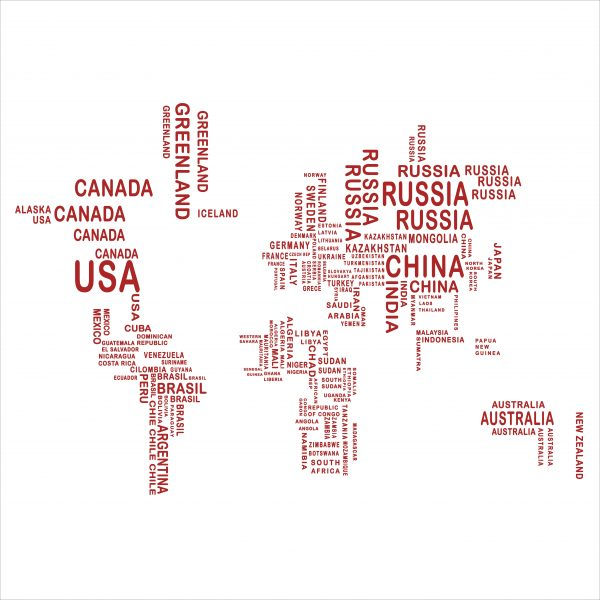 Decorative lettering wall sticker by CaptainText: World Map