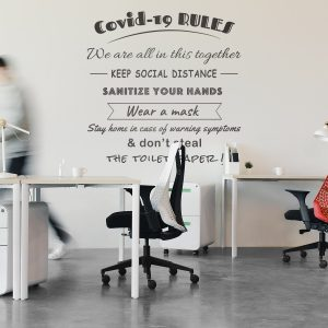 Decorative lettering wall sticker by CaptainText: Covid-19 rules